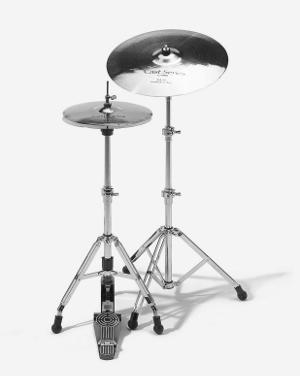Hi-Hat (links) und Standard-Beckenständer (Sonor)