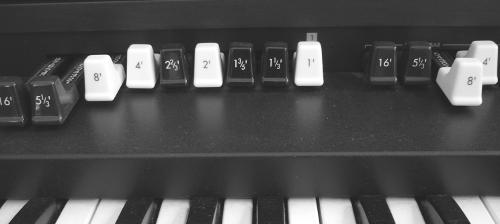 Drawbars einer Korg BX3-Orgel